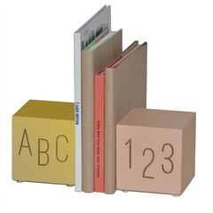 ABC123 Wooden Bookends, Pink/Gold