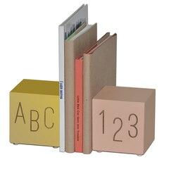 ABC123 Bookend de bois, rose/or