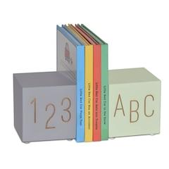 ABC123 Bookends de bois, minthe/gris