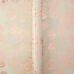 Cream & Gold Foil Floral Roll Wrap
