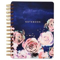 Floral Spiral Notebook, Navy