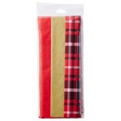 TISSUE 3PK RED/GOLD/PLAID