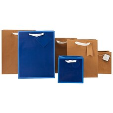 GIFT BAG BUNDLE NAVY BLUE AND KRAFT BROWN