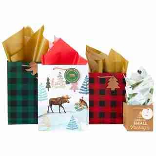 Gift Bag Bundle Buffalo Plaid Moose