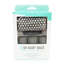 Oh Baby Bags Duffel Diaper Dispenser Gift Box Grey White Dots