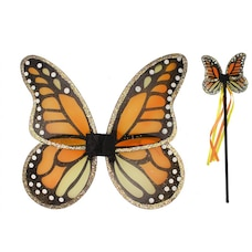 Great Pretenders Dress-Up Costume Accessory Wings with Wand Monarch Butterfly