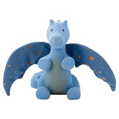 TIKIRI NATURAL RUBBER RATTLE TEETHER WITH CRINKLE WINGS, DRAGON