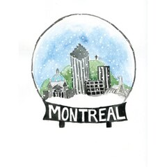 Montreal snowglobe Xmas boxed cards