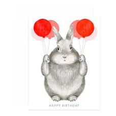 Birthday Card Bunny Balloons