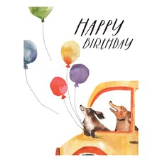 Paper E. Clips Birthday Card Dog Balloon Car