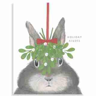 Holiday Card Bunny With Mistletoe
