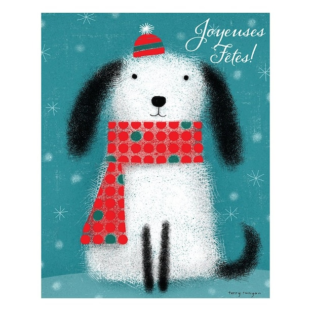 Boxed Cards - Dog in Hat and Scarf (in French)