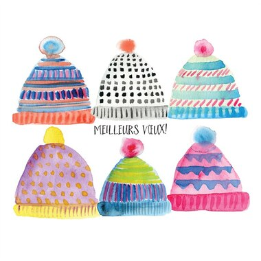 Boxed Cards - Colorful Toques (in French)