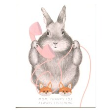 Paper E. Clips Mother's Day Card Bunny In Fox Slippers
