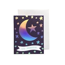 Paper E. Clips Eid Card Crescent Stars