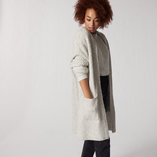 LONG BASKET WEAVE CARDIGAN AVALANCHE SMALL-MEDIUM