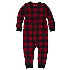 INFANT UNION SUIT, PLAID RED 6M-12M