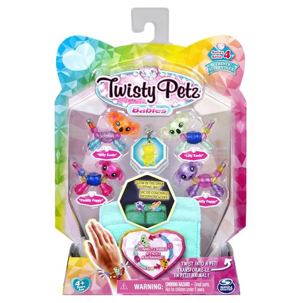 Twisty Petz Series 4 Babies 4-Pack Puppies and Koalas Collectible Bracelet Set and Sleeping Bag