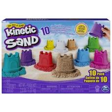 Kinetic Sand, Coffret de moules en forme de château 10 couleurs, pour les enfants à partir de 3 ans