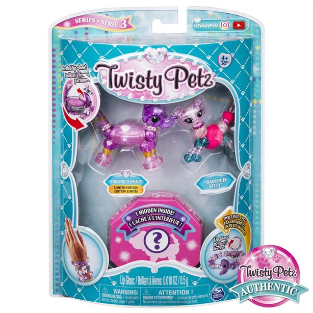 Twisty Petz Series 3 3-Pack Stomperz Elephant Babypuff Kitty and Surprise Collectible Bracelet Set