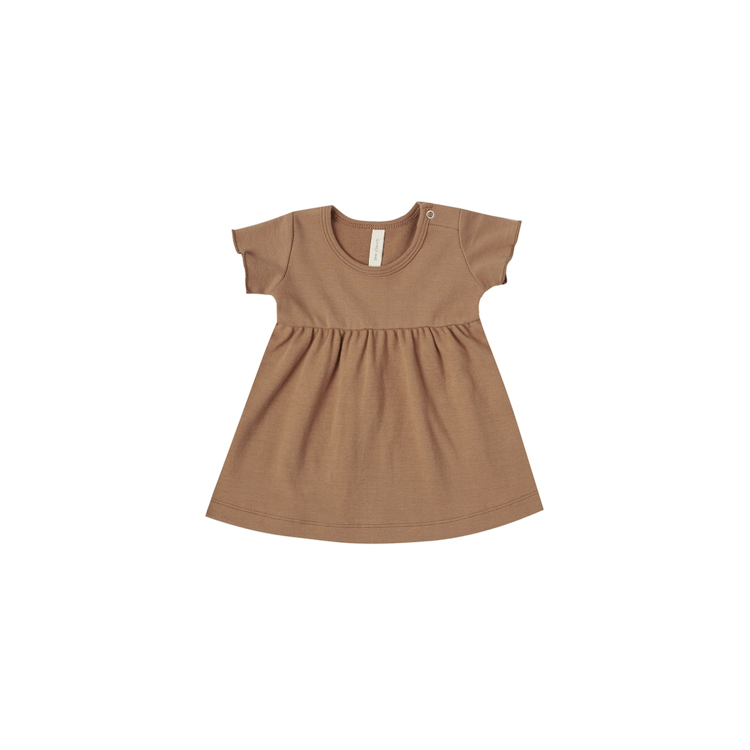 Short Sleeve Baby Dress - Rust - 0-3 Months