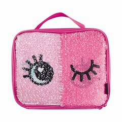 MAGIC SEQUINS LUNCH TOTE, SILVER WINK REVEAL