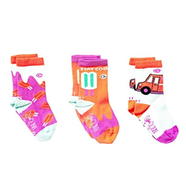 Organic Socks 3pk - Popsicle - 4-6 yrs