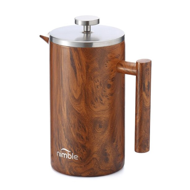 Nimble Double Walled French Press Coffee Maker - English Wood