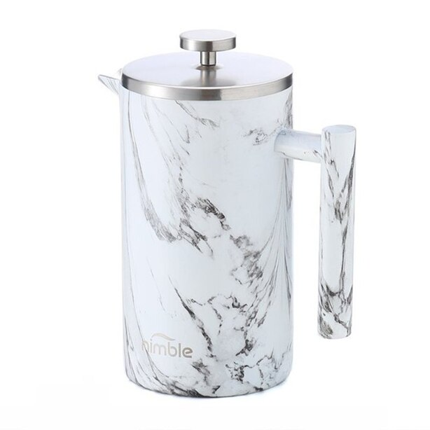 Nimble Double Walled French Press Coffee Maker - Makrana Marble