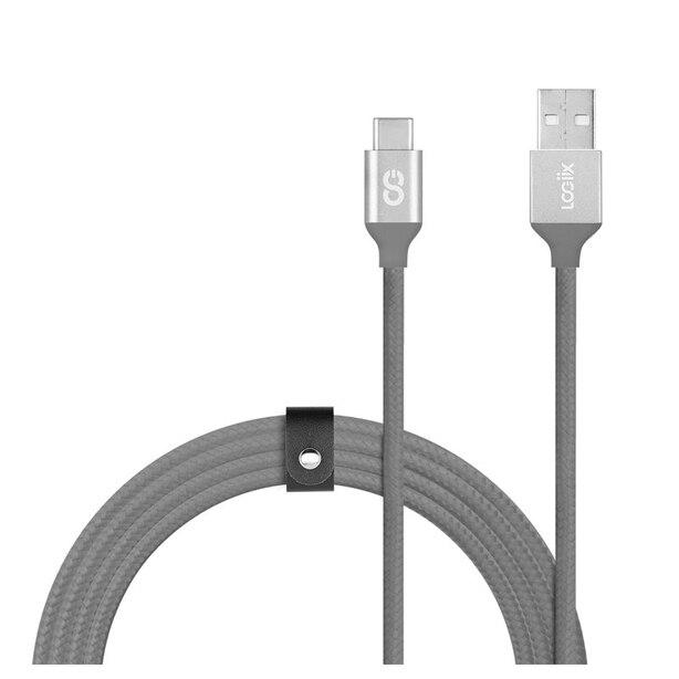 LOGiiX Piston Connect Braid 1.5M USB-A to USB-C - Graphite Grey