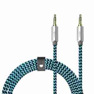 LOGiiX Piston Connect Braid 1.5M Aux to Aux - Blue/Black