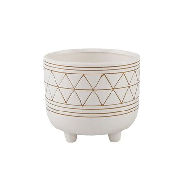 FLORA BUNDA CERAMIC AND WOOD PLANT POT WITH 6 LEGS WHITE AND GOLD