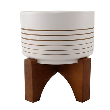 FLORA BUNDA CERAMIC AND WOOD PLANT POT WHITE WITH GOLD