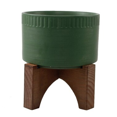 FLORA BUNDA CERAMIC AND WOOD PLANT POT GREEN
