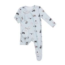 Angel Dear Zipper Footie - Grey Puppy Size Baby 3-6 Months