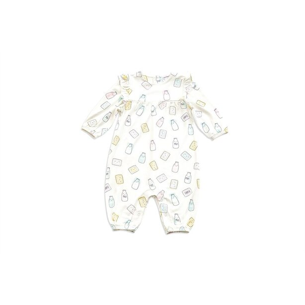 Angel Dear Ruffle Romper Milk and Cookies 3 - 6 Months