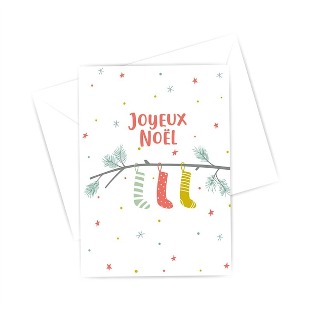 Boxed Cards - Christmas stockings on a branch (in French)