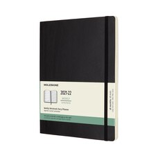 Moleskine 18 Month 2021-2022 Weekly Notebook Planner, Soft Cover, XL, Black