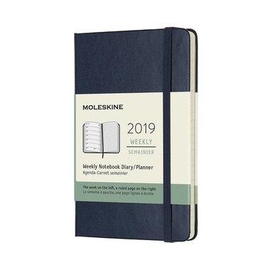 2019 Moleskine 12-Month Pocket Hardcover Weekly Notebook Sapphire Blue