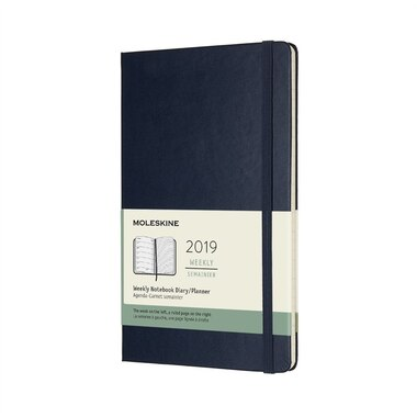 2019 Moleskine 12-Month Large Hardcover Weekly Notebook Sapphire Blue