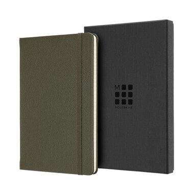 MOLESKINE LIMITED EDITION LEATHER NOTEBOOK LARGE RULED MOSS GREEN
