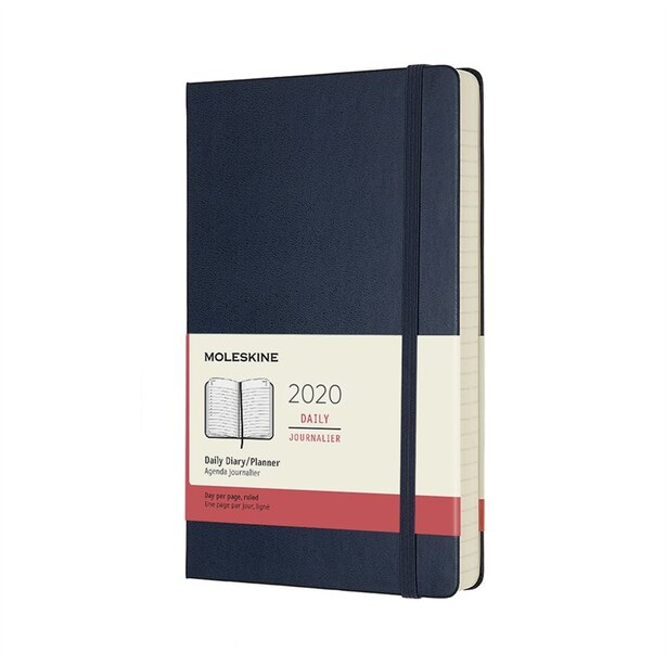 MOLESKINE 12-MONTH LARGE HARDCOVER DAILY NOTEBOOK SAPPHIRE BLUE