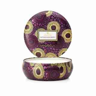 Voluspa® 3-Wick Decorative Tin Candle - Santiago Huckleberry