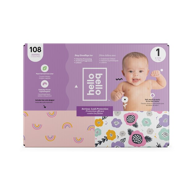 Hello Bello Club Diapers - Pink Rainbows / Spring Blooms - Size 1