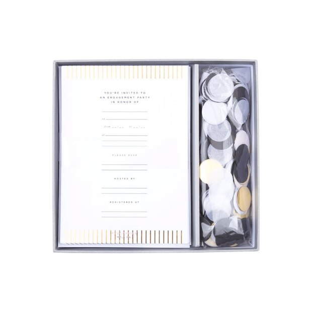 ENGAGEMENT CONFETTI GOLD INVITATION Set of 12
