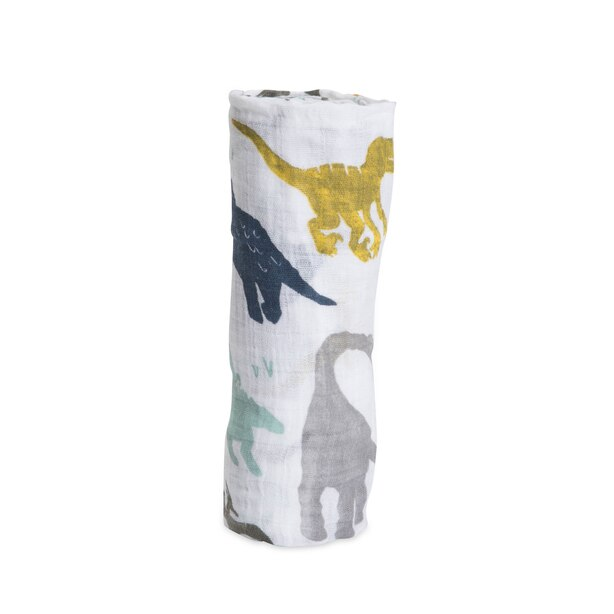 Couverture enveloppante Little Unicorn en mousseline de coton – Dinosaures