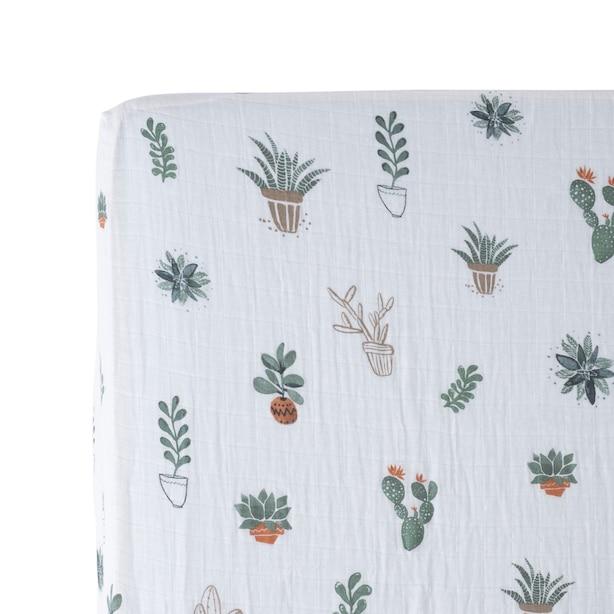 Little Unicorn Fitted Crib Sheet 100% Cotton Muslin Prickle Pots