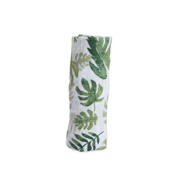 Cotton Muslin Swaddle Single, Tropical Leaf