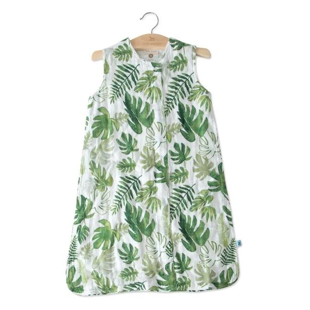 Little Unicorn Sleep Bag 100% Cotton Muslin 1.1 TOG Tropical Leaf Small 0 to 6 Months