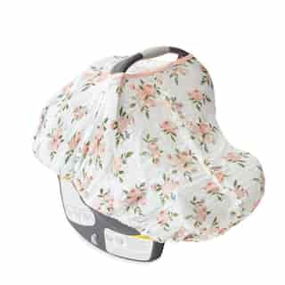 Little Unicorn Car Seat Canopy 100% Cotton Muslin Watercolour Roses